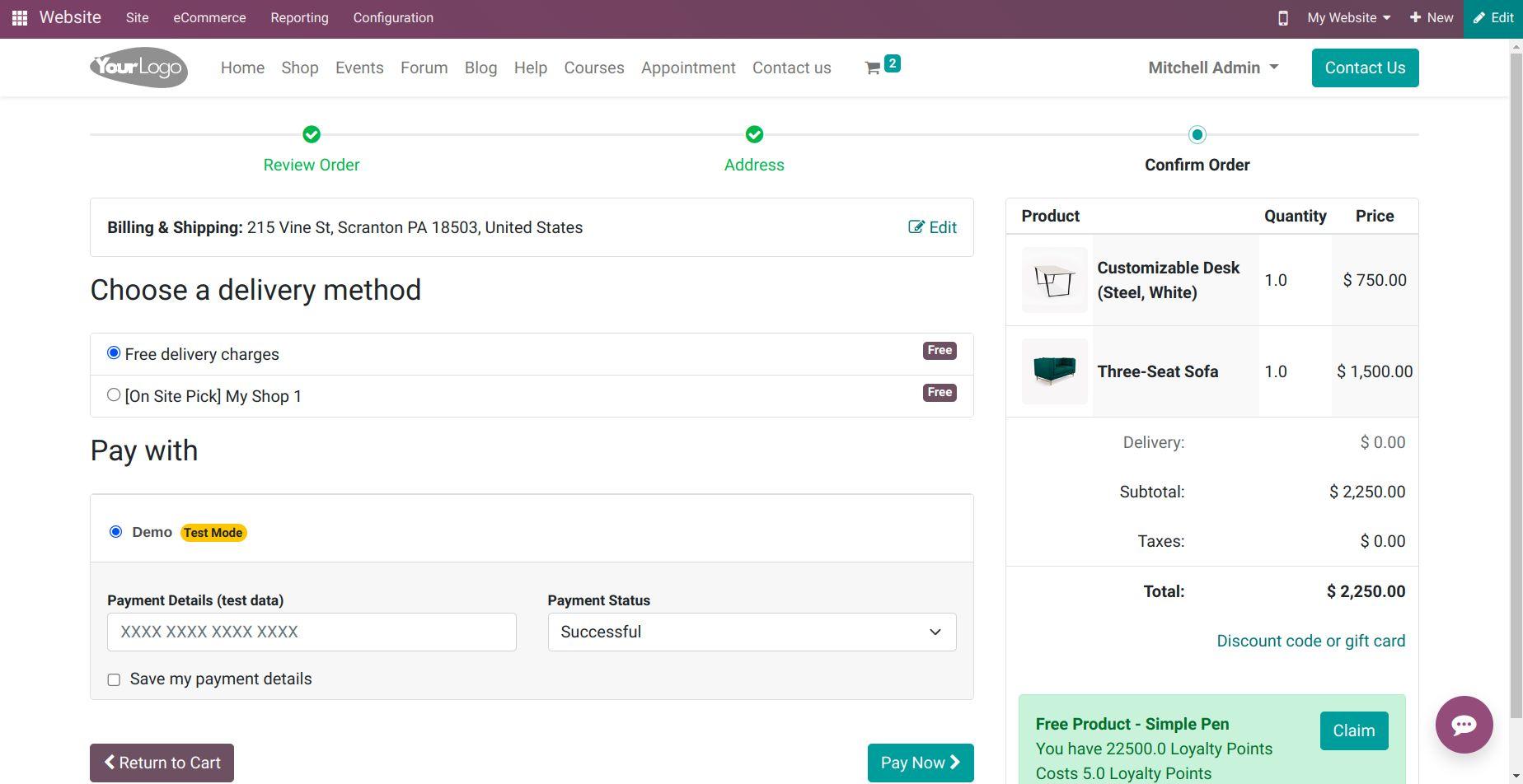 Odoo E-commerce Website